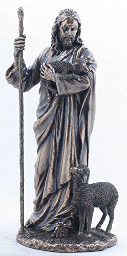 (11.38 Inch Jesus The Shepherd with Sheep's Cold Cast Bronze Figurine)