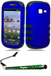 Samsung S738c Galaxy Centura S730G Dis Case Cover Protector RibCase Blue Include FoxyCase Stylus cas couverture