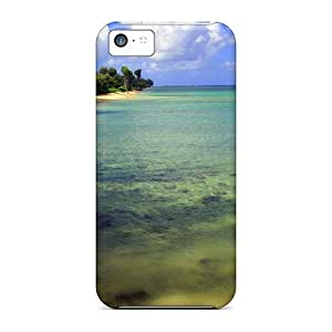 Fashion Tpu Case For Iphone 5c- Beach Trees Defender Case Cover