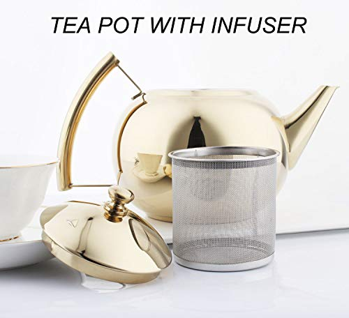 OMGard Gold Tea Pot with Infuser Loose Tea Leaf Filter 2 Liter Stainless Steel Teapot Coffee Water Small Kettle Strainer Set Warmer Teakettle for Stovetop Induction Stove Top 2.1 Quart / 68 Ounce