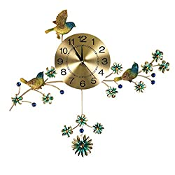 IMPORTED GIFT DEPOT Birds & Flowers Gold Metal Wall Clock Large Decorative Wall Art w/Blue Gem Accents, Silent Battery Operated Wall Clock Living Room, Office, Or Home Décor