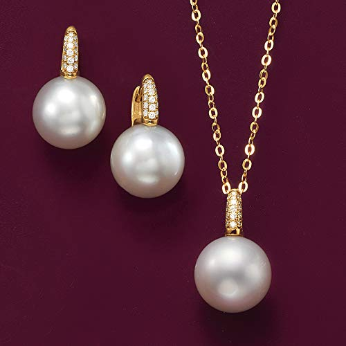 Ross-Simons 8mm Cultured Pearl Earrings With Diamond Accents in 14kt White Gold by Ross-Simons (Image #4)