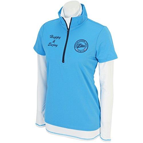 フィラ FILA 長袖ハイネックインナーシャツ付きハーフジップ半袖ハイネックシャツ 795512 レディス ブルー M