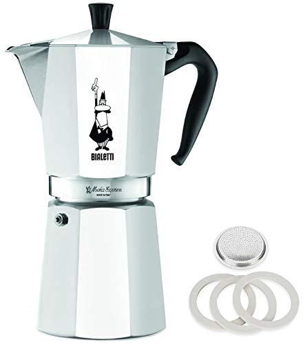 Original Bialetti 12-Espresso Cup Moka Express | Espresso Maker Machine with Extra Genuine Bialetti Replacement Filter and Three Gaskets Bundle (12-cup, 25 fl oz, 775 ()