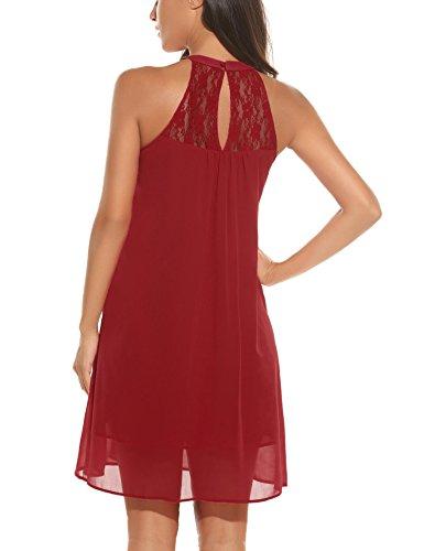 Maniche Senza Zeagoo In Casual Partito SMLXLXXL In Da Pizzo Abito Rosso Elegante Donna Vestito Chiffon wBnTvzwq