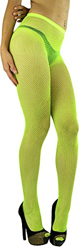 ToBeInStyle Women's Spandex Seamless Glittery Fishnet Pantyhose Tights Hosiery - Neon Yellow with Silver Glitter - One Size: Regular