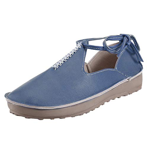 CCFAMILY Women's Summer Peas Single Shoes Ladies Side Lace-Up Sneaker Vintage Breathable Casual Shoes Blue