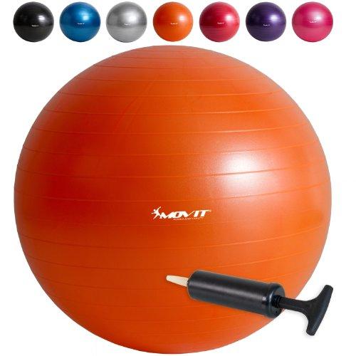 Movit Gymnastikball mit Pumpe Fitnessball Sitzball 75 cm in orange, Maximalbelastbarkeit bis 300kg, Anti Burst Material