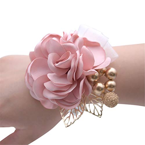 (Wedding Bridal Wrist Corsage Prom Wrist Flower Corsage Flowers for Wedding Party,Graduation Party (Champagne))
