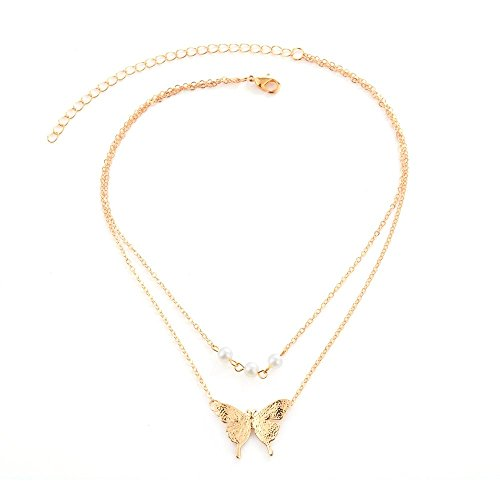 J Meng Double Layer Simulated Pearl Butterfly Choker Necklaces - Retro Pendant Necklace