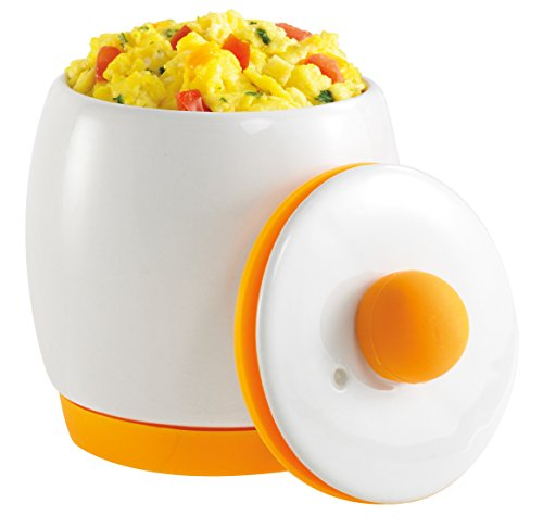 Allstar Innovations As Seen on TV Egg-Tastic Microwave Egg Cooker and Poacher for Fast and Fluffy Eggs, White/Orange