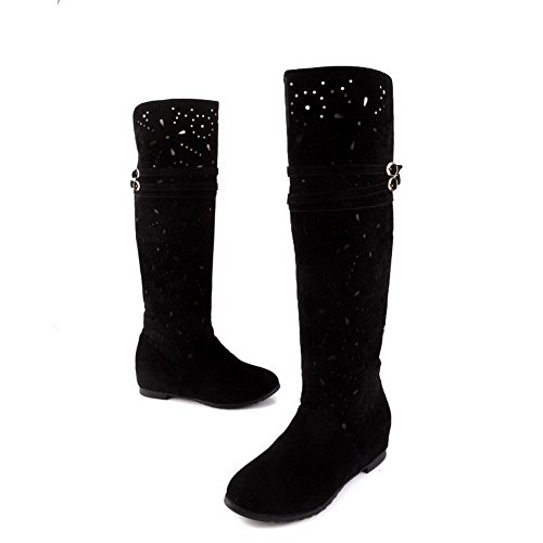 with Toe Black Out US Hollow M Closed 8 Boots Kitten Solid Frosted Womens Round Heels AmoonyFashion B PU 7vPnTOt7