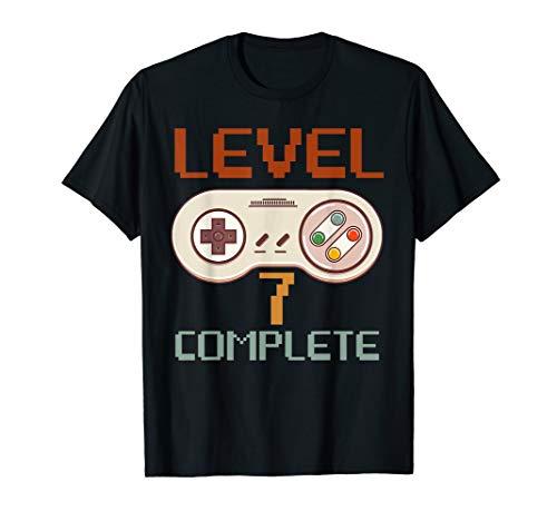 Vintage 80s Gamer 7th Wedding Anniversary Level 7 Complete T-Shirt