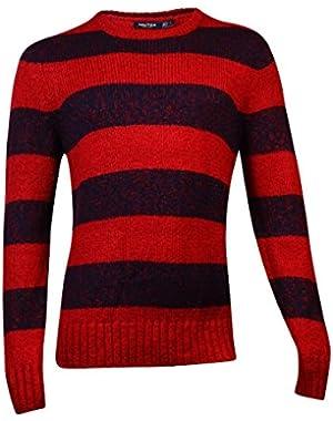 Men's Lofty Twist Striped Sweater Large Ribbon Red