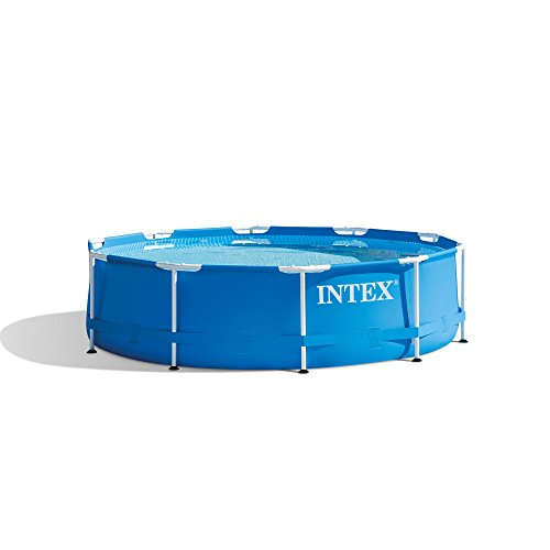 (Intex 10 Foot x 30 Inch Round Metal Frame Backyard Above Ground Swimming Pool)
