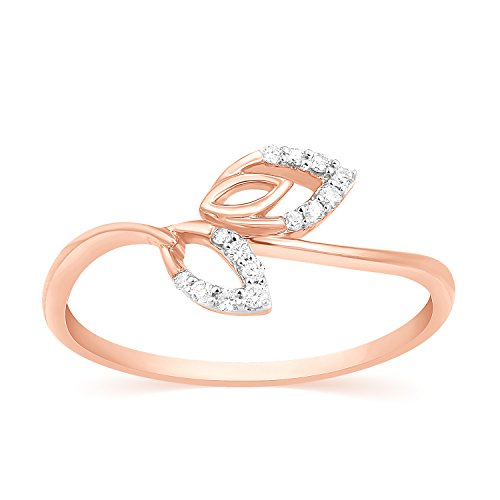 - Round Cut Real Natural Diamond Leaf Ring Solid 14k Gold