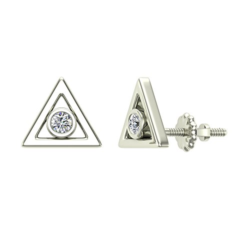 Diamond Earrings Triangle Shape Studs 10K White Gold - Bezel Setting Screw Back Posts (0.10 carat total)