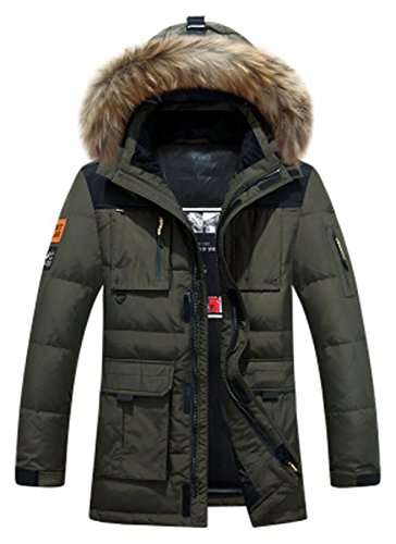 Mens Hood Jackets Grren Extreme army Parka Heavy Weather Winter Fur Jacket Parka Weight ROSEUNION Waterproof Thick Down Coat Windproof Padded Style3 Parka d8dw1Z