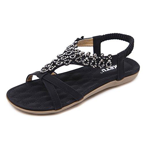 Meeshine Women T-Strap Beaded Flower Gladiator Flat Dress Sandals Beach Shoes (8 B(M) US, Black 04) (Spirit Earth Sandals)