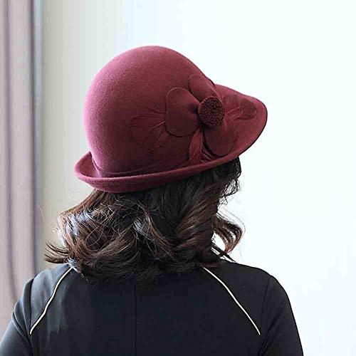 Para Cloche color Las Mujeres Otoño Flores Sombrero E Pluma Rojo Bombín Iglesia Vino Invierno Rojo Del Cubo Sun Decoración Sombreros wIdaA1qq