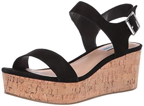 (Steve Madden Women's Breathe Wedge Sandal, Black Suede, 7.5 M US)