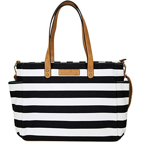 (Striped Tote Bag by White Elm | The Aquila (New Edition)| Canvas & Vegan Leather | Black)