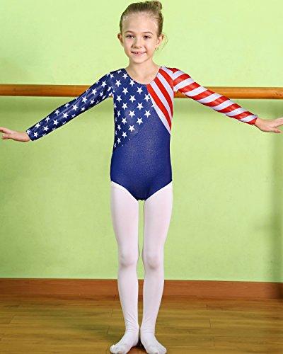 4fe31d874 Girls Leotards for Gymnastics Blue American Flag Sparkle Spliced ...