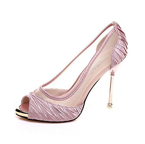 HBDLH Damenschuhe Mode Sexy 10Cm Hochhackigen Schuhe Im Frühling und Sommer Flache Mesh Gaze Fisch Im Mund - Schuhe Schuhe Schöne Schuhe.