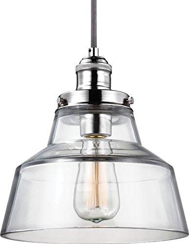 (Feiss P1349PN Baskin Glass Pendant Lighting, Chrome, 1-Light (9