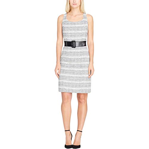 Tahari ASL Womens Boucle Sleeveless Wear to Work Dress Black-Ivory -