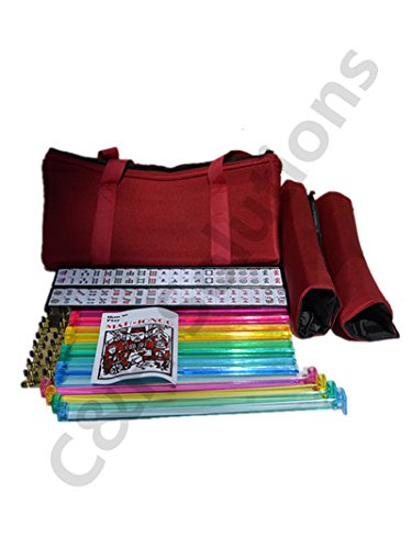 4 Color Pushers And 4 Color Racks + American Mah Jong Set Burgundy Red Bag 166 Tiles (Mah Jong Mah Jongg Mahjongg)By C&H Solutions by C&H Solutions