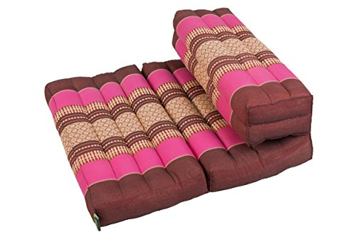 Kapok Dreams ™ Foldable Meditation Cushion, 100% Kapok Zafu/Zabuton, Thai Design Berry Colours (Burgundy/Pink) by Kapok Dreams
