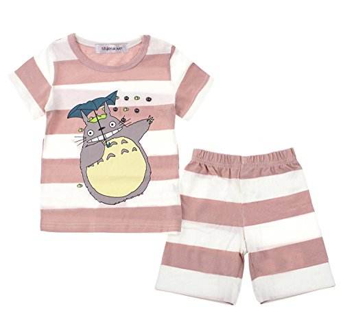 Styles I Love Baby Toddler Boys Girls 2-Piece Totoro Striped Long Sleeve Cotton Lounge Set (Pink/Short Sleeves, 80/1-2 Years)