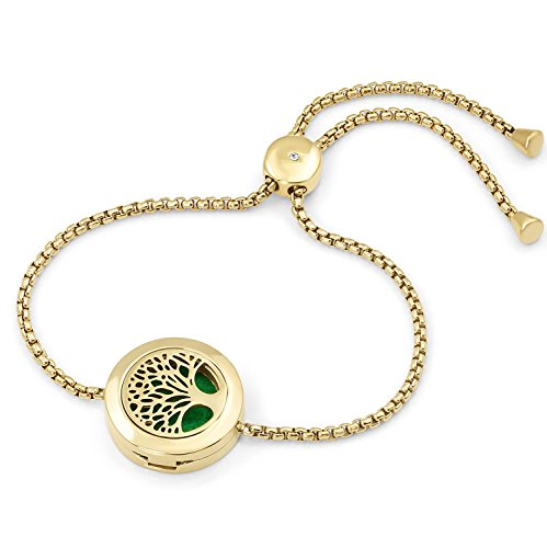 Adjustable Tree of Life Diffuser Bracelet, Chain Bracelet, 20mm Locket, 9 Diffuser Pads, Branded Bag. (Gold)