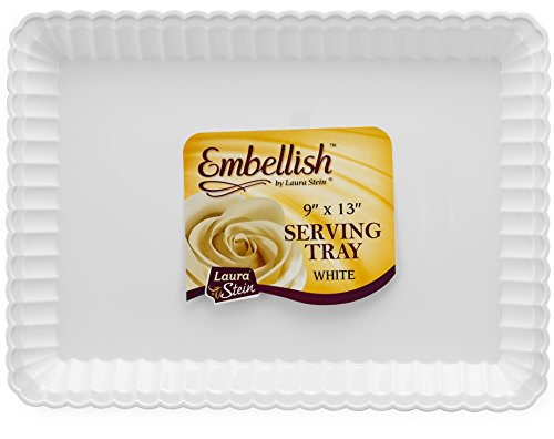 Embellish Rectangle Plastic White Serving Tray 9'' x 13'' Pack of 4, White,