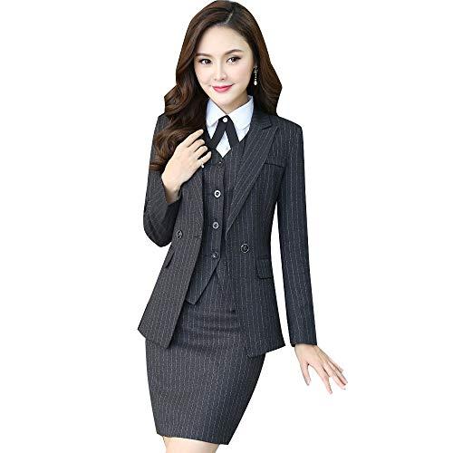 c03b716d988d1 レデイースストライプスーツセットOL事務所面接求職結婚服ビジネスフォーマルスーツセット教師