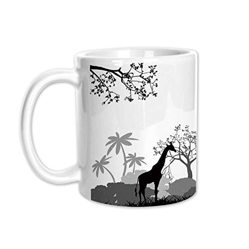 Tree Stylish White Printed Mug,Bullfinches on Trees in Winter City Park Snow Cold Weather Immigrant Birds Design for Living Room Bedroom,3.1
