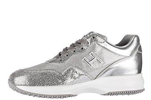 Hogan Scarpe Da Donna Sneakers Da Ginnastica In Pelle Interattive H3d Argento