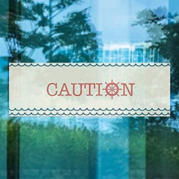 36x12 Nautical Wave Window Cling Caution CGSignLab 5-Pack