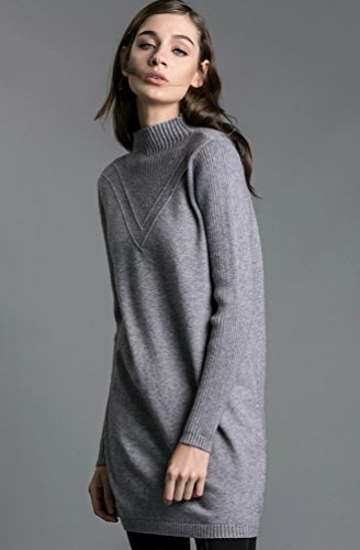 ZKOO Vestidos de Punto Mujer Mini Vestido de Manga Larga Slim Elegante Túnica Suéter Larga Jerseys Gris
