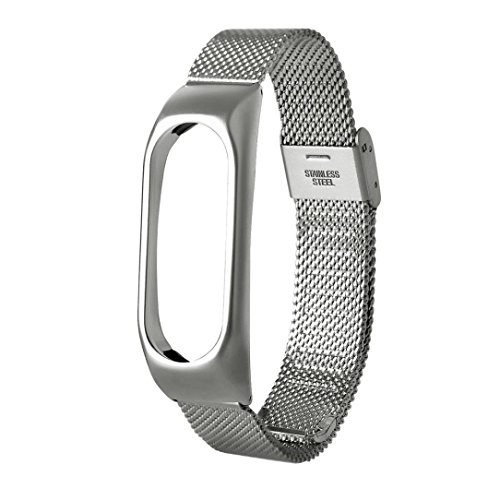 Price comparison product image For Xiaomi Miband 2, Winhurn Fashion Lightweight Stainless Steel Smart Wrist Watch Strap (sliver)
