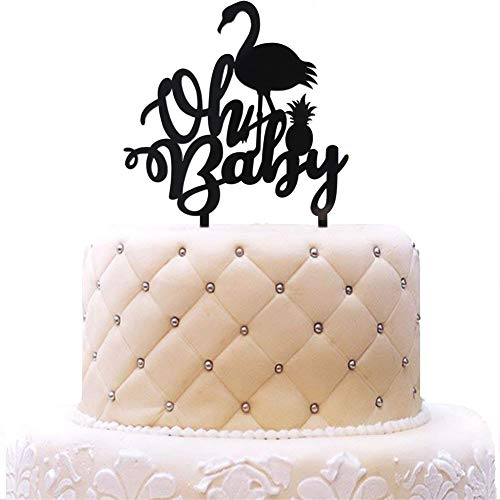 Oh Baby with Flamingo Pineapple Acrylic Cake Topper Black Mirror for Baby Shower, Birthday Party Decorations by SWEETTALA