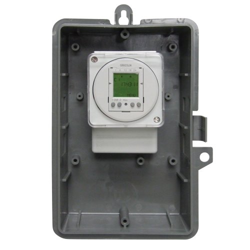 Grasslin by Intermatic GMX2FM2D50-I-24 2-Channel Electronic 24-Hour/7-Day Time Switch with NEMA Indoor Plastic Enclosure, 24-volt