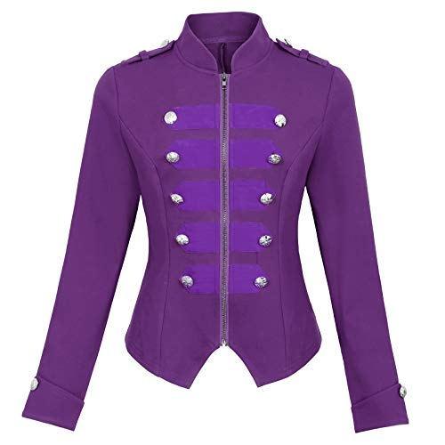 Womens Purple Gothic Steampunk Ringmaster Jacket Military Blazer Coat Purple Size L