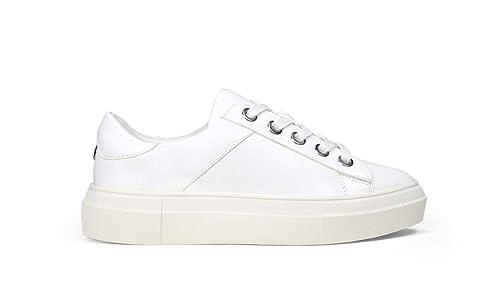 Bosanova Zapatillas Casual/Sneakers Blancas con Plataforma Baja para Mujer, Blanco
