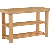HOMFA Bamboo Shoe Rack Bench 3-Tier, Shoe Organizer, Storage Shelf, Good Load Bearing, Ideal for Entryway Hallway Living Room and Corridor Natural Color