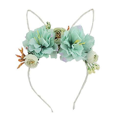 Meoliny Peony Flower Crown Woodland Photo Shoot Hair Wreath Wedding Headband Costume Headpiece for Women,Aqua Blue ()