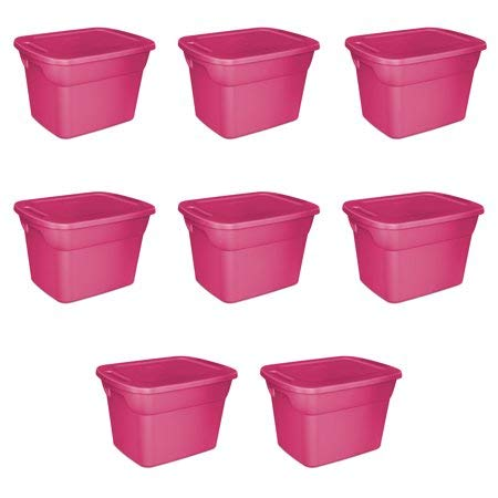 (Large Storage Totes with Lid, Heavy Duty Reusable Plastic Bin Container Box - 8 Set, 18 Gallon Each - for Move Closet Garage Desk Shelves Clothes Books Basement - Fuschia Pink 24