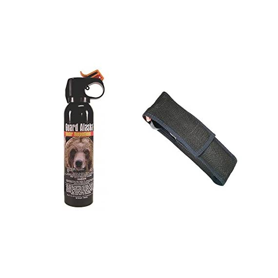 Guard Alaska Combo Pack! Bear Spray and Holster 1 Only bear repellent registered with the EPA as a repellent for ALL SPECIES of bears - Environmentally safe - Does not contain flammable or ozone depleting substances Fogger delivery system to quickly engulf bear's face for maximum effectiveness Six years of intensive testing in Alaska wilds - Maximum strength 1.34% total capsaicinoid formula - 9 ounce (255 Grams) UltraMag shotgun size - E-Z Access Firemaster Actuator - 15-20 feet firing range - Releases full 9 ounces of protection in 9 seconds - 30-day money back guarantee