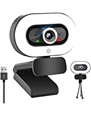 HD Webcam 2K Web Camera with Ring Light, PPUSIN Built-in Microphone Streaming Computer Camera with Tripod, Adjustable Brightness Webcams for Zoom/Online Teaching/Conference